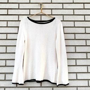 Massimo Dutti Cotton Knit Cream & Black Sweater
